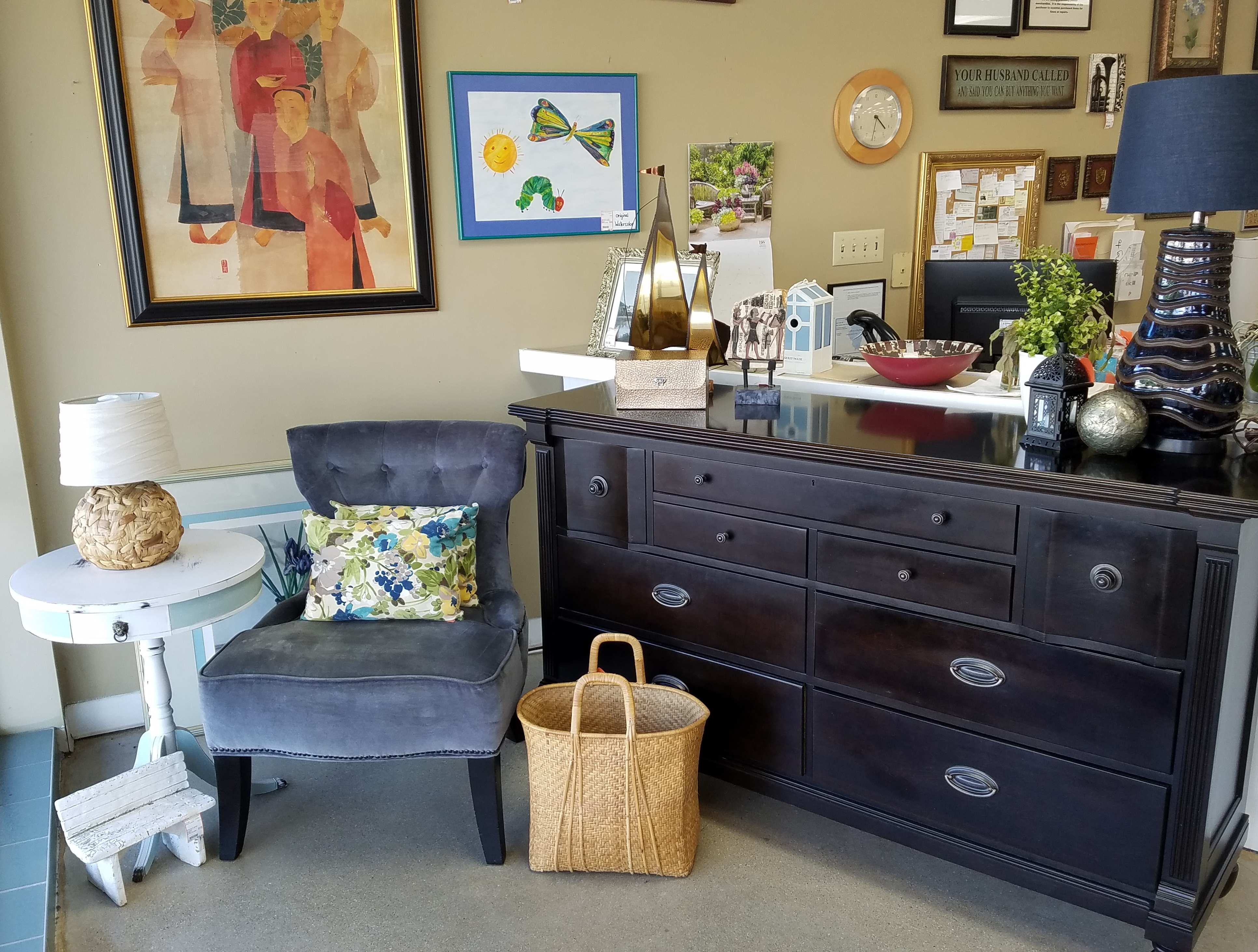Solid wood dresser + decorative chair