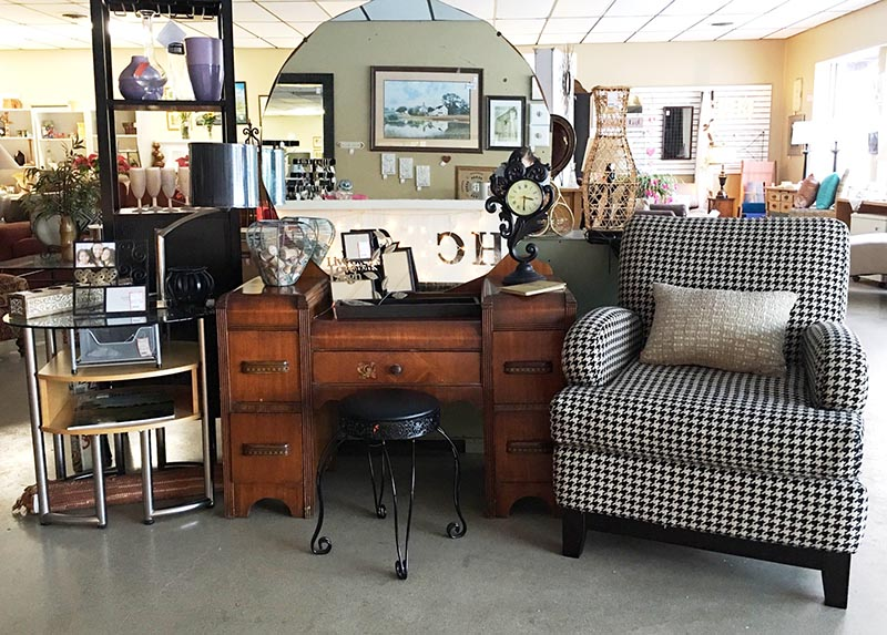 Antique dresser & mirror + large checkered chair and accessories