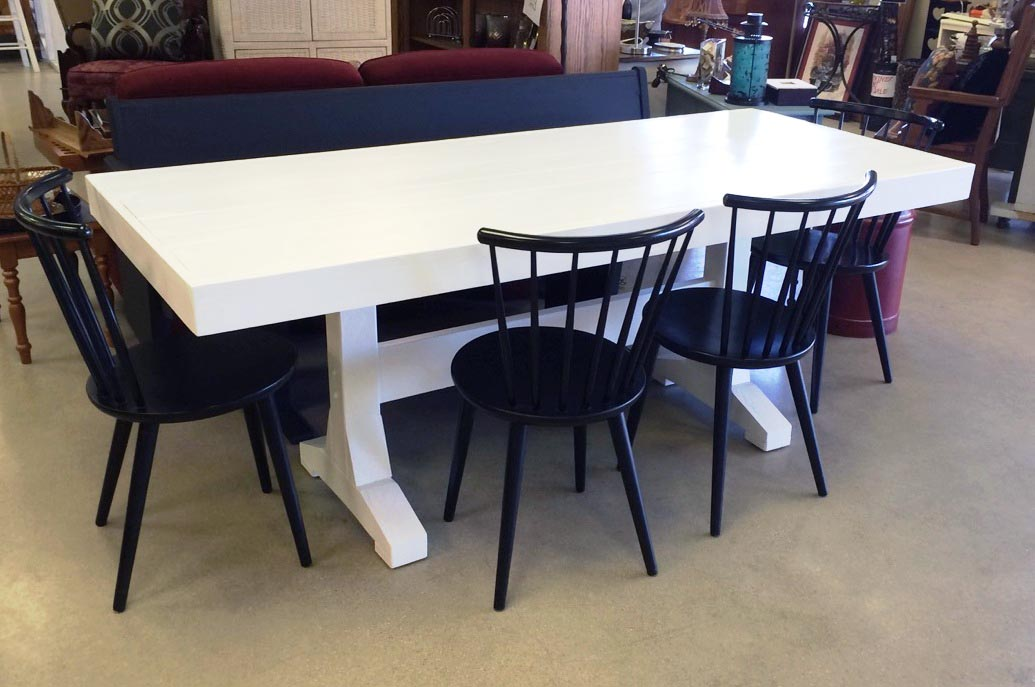 Restored farmhouse table, solid wood painted white + accompanying chairs